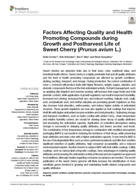 Factors affecting quality in sweet cherry